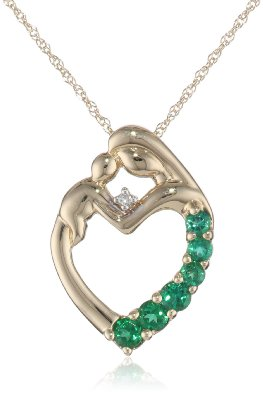 Yellow Gold Created Emerald and Diamond Mother Holding Child Pendant - 02EM59