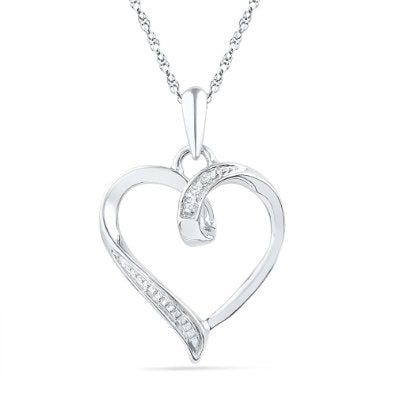 10KT White Gold Round Diamond Pendant - 02NN05
