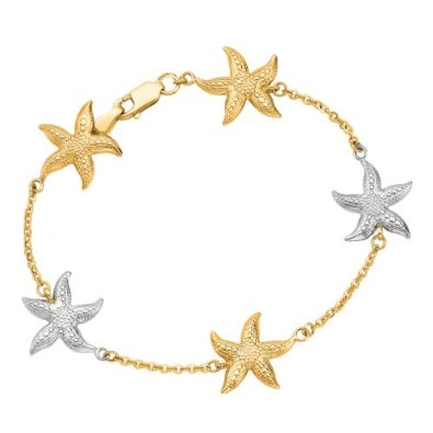 2 Tone Multi Starfish Sea Life Bracelet - 02NN06