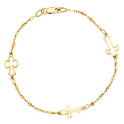 Chain And Lobster Clasp And Station Open Cross Symbolic Bracelet - 02NN07