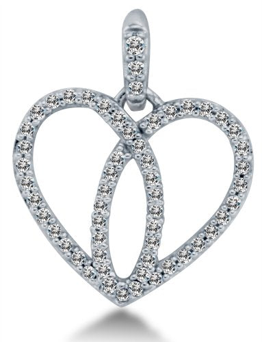 14K White Gold Love Heart Pendant - 02NN10