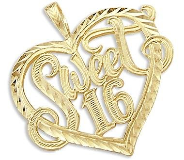 Gold Sweet 16 Birthday Charm Pendant Large - 02NN16