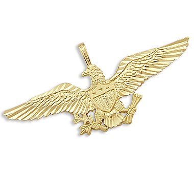 14k Yellow Gold Eagle Aviator Pilot Pendant - 02NN18