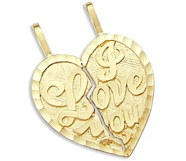 14k Yellow Gold I Love You Breakable Two Heart Pendant - 02NN24