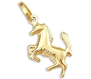 14k Yellow Gold Unicorn Horse Charm Pendant - 02NN28