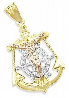 14K Tri-Color Gold Anchor Jesus Crucifix Charm Pendant - 02NN29