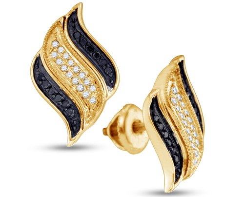 10K Yellow Gold Round Brilliant Cut Black and White Diamond Earrings Sets - 02NN43