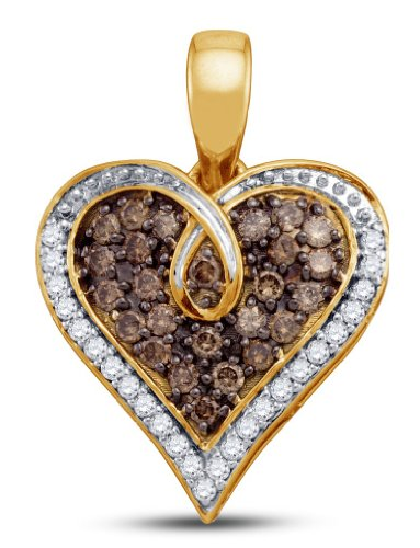 Chocolate Brown and White Diamond Heart Pendant - 02NN44