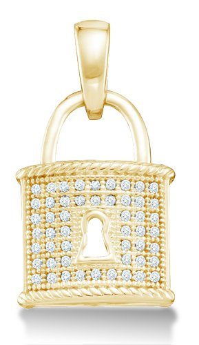Dangle Drop Lock Micro Pave Set Round Diamond Pendant - 02NN50
