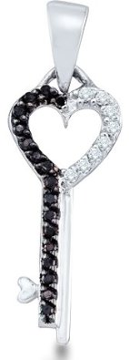 Black and White Diamond Round Cut Key to my Heart Pendant - 02NN53