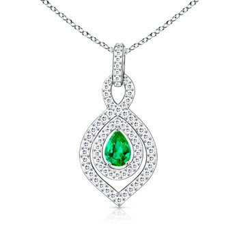 Pear Emerald and Round Diamond Cluster Pendant - 02NN54