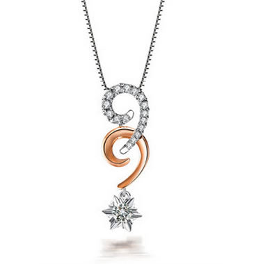0.3 CT DIAMOND 18K WHITE ROSE DUAL COLOR GOLD PENDANT + 925 STERLING SILVER CHAIN NECKLACE - 02NN58