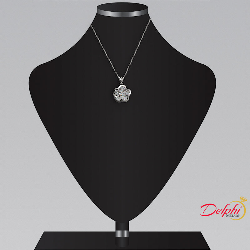 0.35ct Diamond Flower Design Gold Necklace and Chain - 02NN80