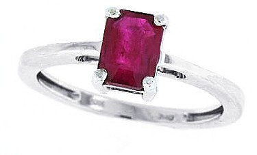 Emerald Cut Genuine Ruby Ring in 14Kt White Gold