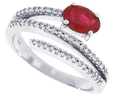 Genuine Ruby and Diamond Ring in 14Kt White Gold
