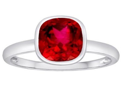 7mm Cushion Cut Created Ruby Engagement Solitaire Ring
