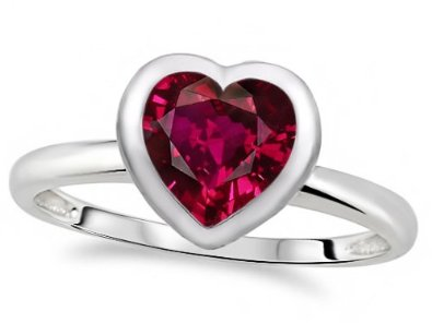 7mm Heart Shape Created Ruby Engagement Solitaire Ring