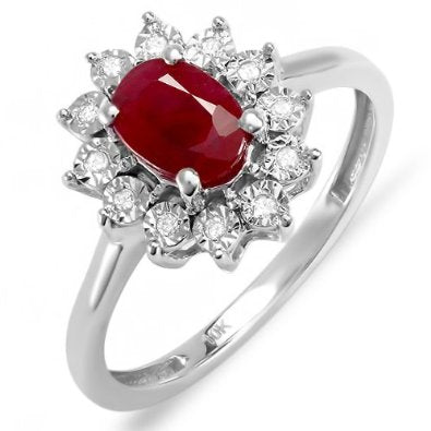 White Gold Real Round Diamond Real Oval Red Ruby Royal Engagement Ring
