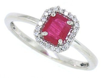 Genuine Ruby Ring with Diamond In10Kt White Gold