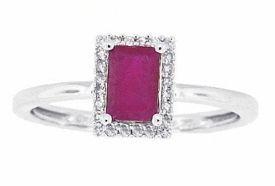 Genuine Ruby Ring with Diamonds in10Kt White Gold