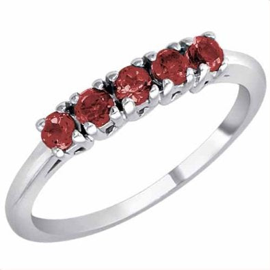 18K Gold Round 5 Stone Ruby Band Ring