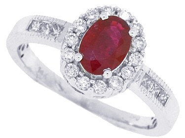 Genuine Ruby/Diamond Ring in 14Kt White Gold