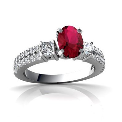 White Gold Oval Created Ruby Engagement Ring