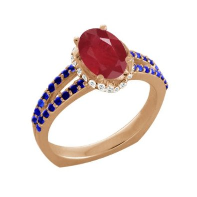 Ruby White Sapphire 14K Rose Gold Ring