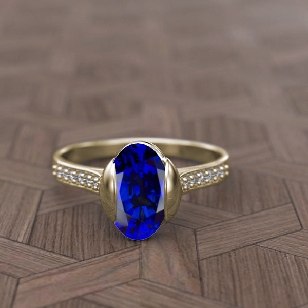Gold Round Oval Blue Sapphire and Diamond Ring - 02SH01