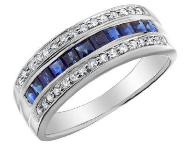 Sapphire Ring with 10K White Gold Engagement/Wedding Band
