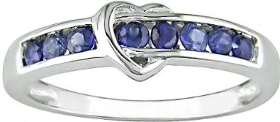 White Gold Sapphire Heart Ring
