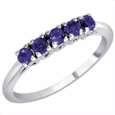 5 Stone Blue Sapphire Band/Engagement Ring