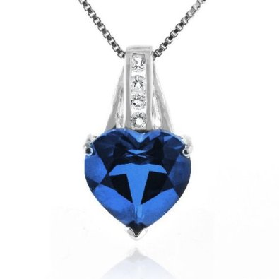Blue & White Sapphires Heart Pendant in Sterling Silver with Chain - 02SH47