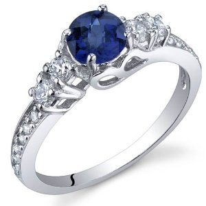 Blue Sapphire Ring in Sterling Silver  - 02SH48
