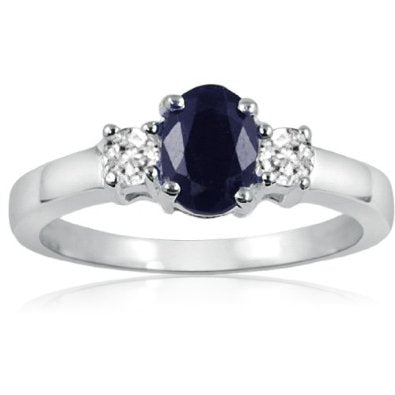 Blue Sapphire and White Topaz Three Stone Ring in Sterling Silver - 02SH49