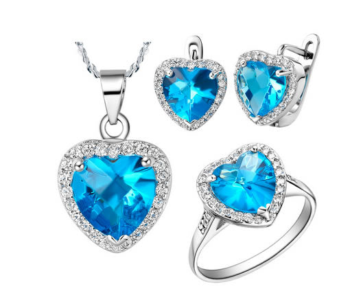Blue Zircon Jewelry Set - 02SS03