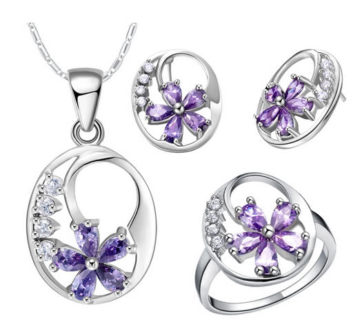 Purple Flower Jewelry Set - 02SS05