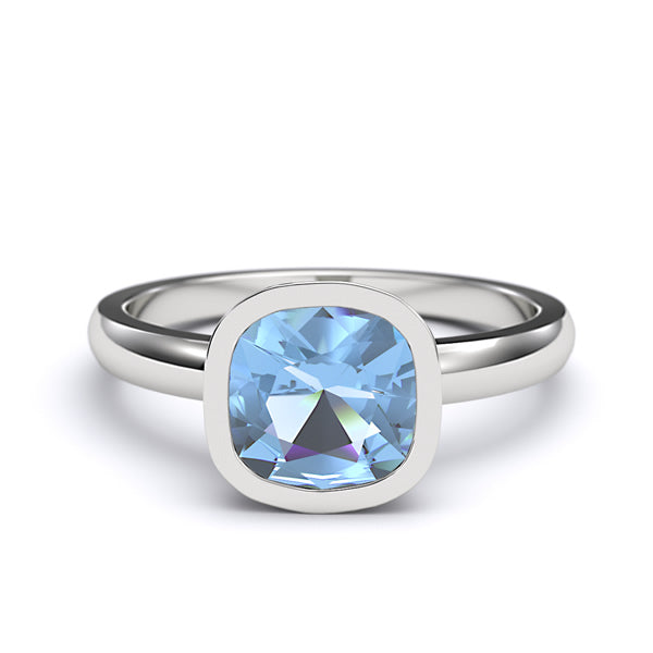 7mm Cushion Cut Genuine Blue Topaz Engagement Solitaire Ring - 02TP01