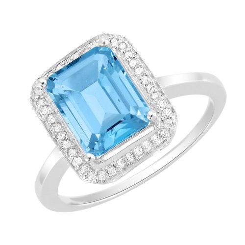 Aquamarine Gold Halo Engagement Ring - 02TP02
