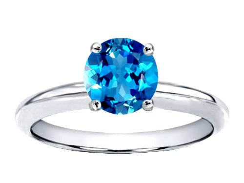 7mm Round Genuine Blue Topaz Solitaire Engagement Ring
