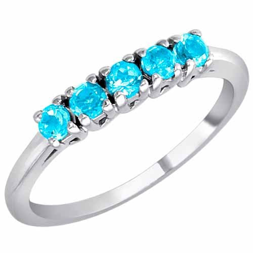 14K Gold Round 5 Stone Blue Topaz Band Ring