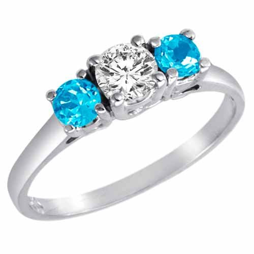 14K Gold Round 3 Stone Diamond and Blue Topaz Engagement Ring