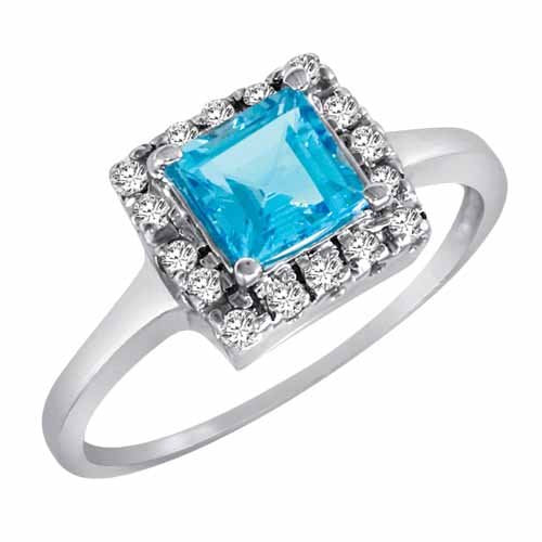 14K Gold Round Square Blue Topaz and Diamond Ring