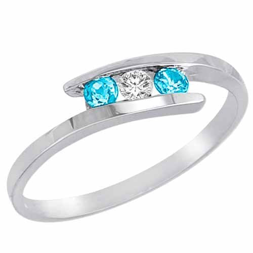 14K Gold With Blue Topaz Accented Ring