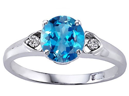 7mm Genuine Blue Topaz and Diamond Engagement Ring