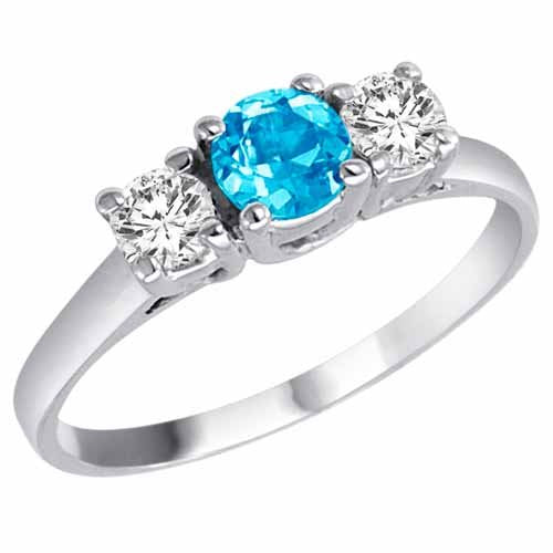 White Gold Engagement Swiss Blue Topaz Ring
