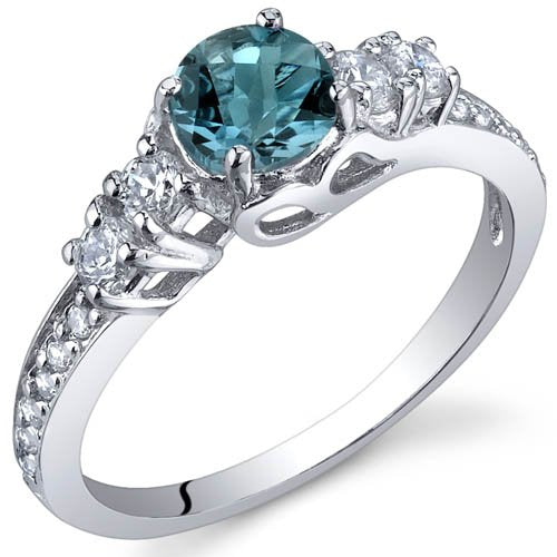 Blue Topaz Ring in Sterling Silver Rhodium Finish - 02TP15