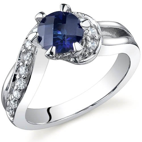 Sapphire Ring in Sterling Silver Rhodium Finish - 02TP16