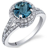Blue Topaz Ring in Sterling Silver Rhodium Finish - 02TP19