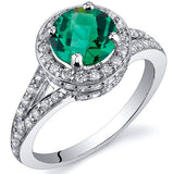 Emerald Ring in Sterling Silver Rhodium Finish - 02TP24